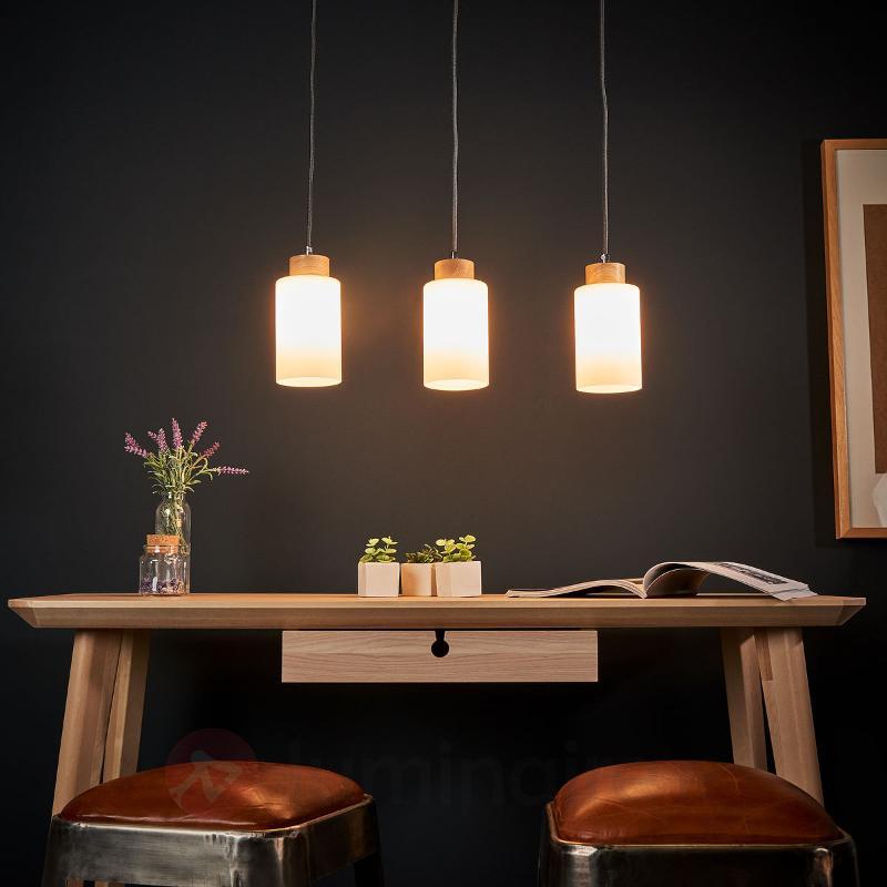 Suspension Bosco avec barre chêne huilé 3 lampes - Cuisine et salle à manger