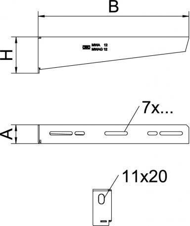 Light-duty wall and support bracket MWA 12 FS - Light-duty wall and support bracket MWA 12 FS