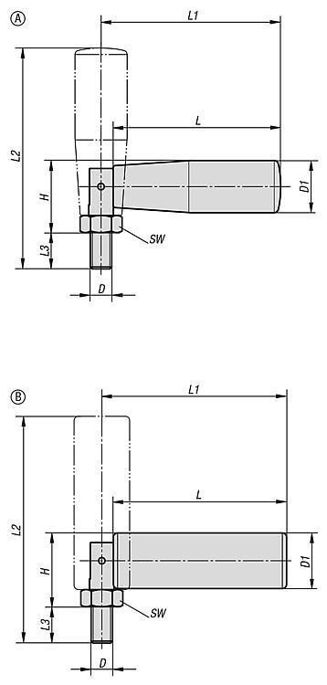 Poignée cylindrique, escamotable - Volants, manivelles et poignées