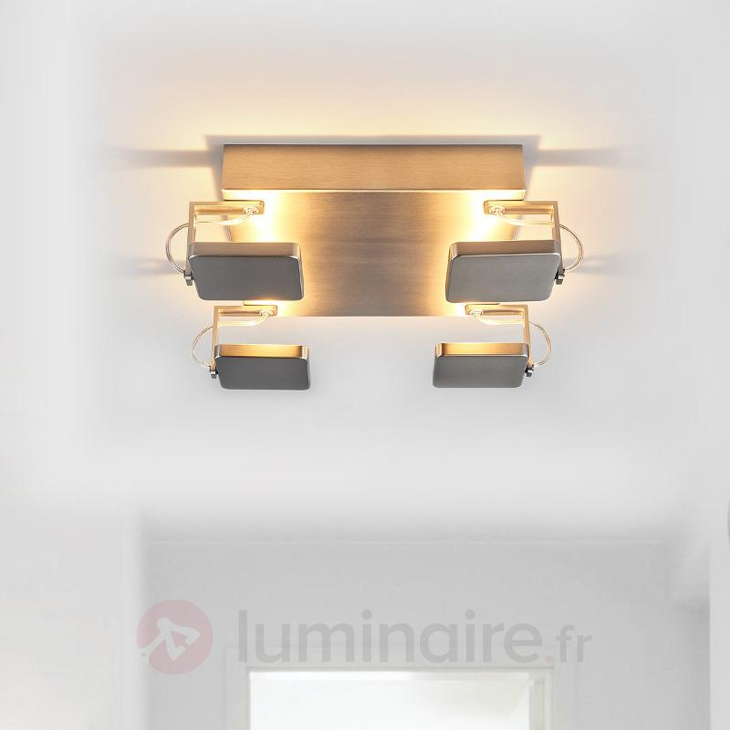 Plafonnier LED carré Kena aspect nickel - Plafonniers LED