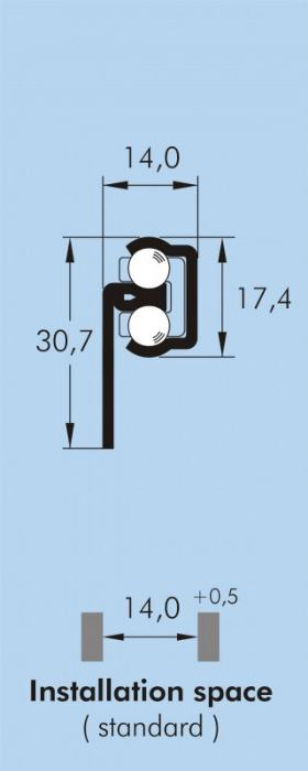 ITS 061 Partial extension drawer slide 60 kg - 17,4 x 14 mm telescopic slide hot-dip galvanized steel length 250 - 500 mm