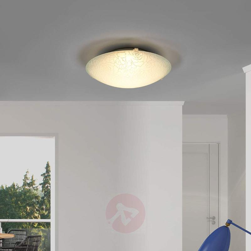 Round LED glass ceiling lamp Cursa, rose pattern - Ceiling Lights