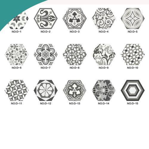 tuile en céramique - Blanc, noir, gris, numérique, couleurs, hexagonal, carrelé, cuisine