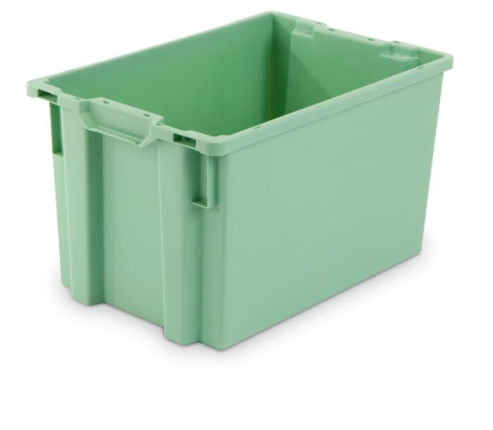 Cajas de plástico apilables y encajables - sin abertura en las asas, 66L (cerrada y/o rejada)
