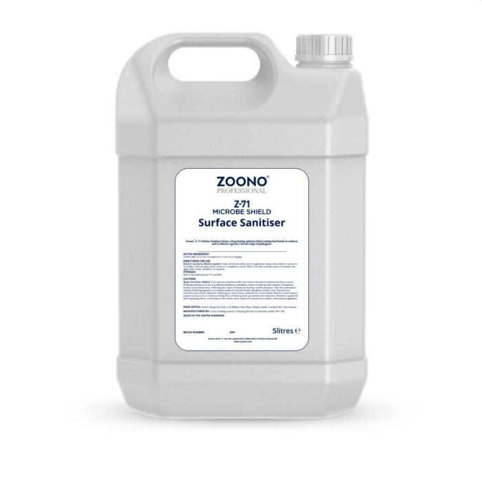 Zoono - long-term effective water-based disinfectant - Innovative product line for the disinfection of surfaces, hands and textiles.