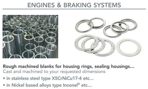 components for aerospace industry  - centrifugal castings for landing gears, engines and braking systems