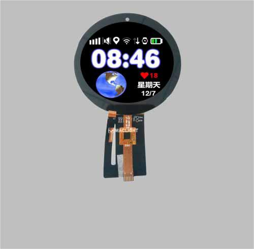 3.34'' Round TFT LCD Display Capacitive Touch Screen -  round tft lcd with circular touch screen
