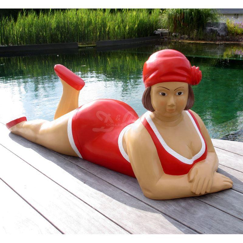 """Badende Schwimmerin """"Anni"""" liegend Badeanzug in Rot..."""