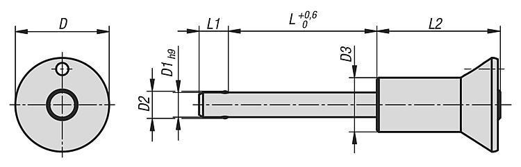 Flexibles Normteilesystem - Kugelsperrbolzen mit Pilzgriff Edelstahl selbstsichernd