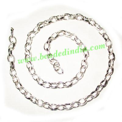 Silver Plated Metal Chain, size: 1x5mm, approx 34.2 meters i - Silver Plated Metal Chain, size: 1x5mm, approx 34.2 meters in a Kg.