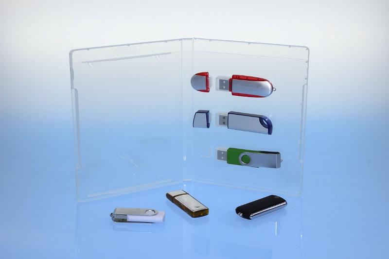 BluRay Box - für 3 USB-Stick's - transparent - - USB-Stick