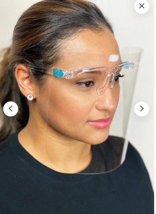 Goggled faceshield - PC material, Reusable Transparent Safety with Clear Film Plastic glasses frame