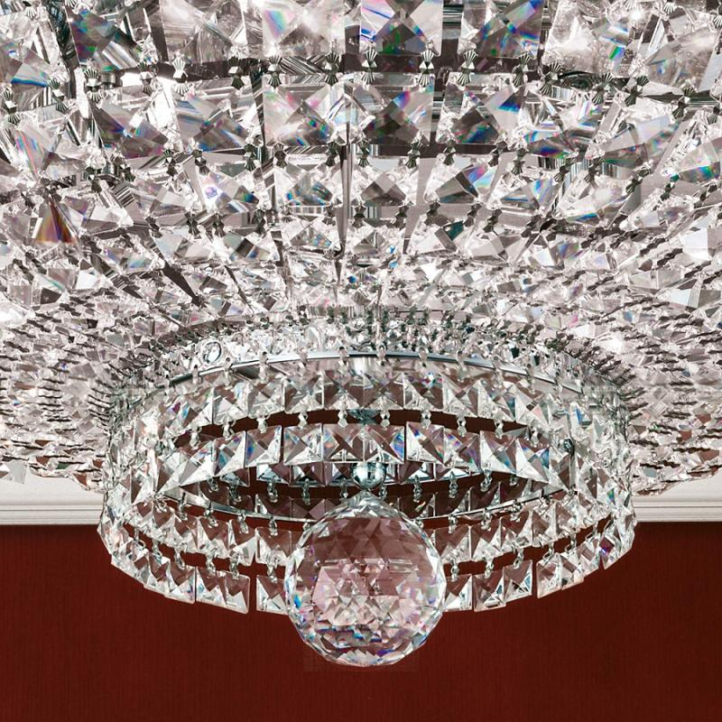 Ceiling light Ambassador, crystal ornaments chrome - design-hotel-lighting