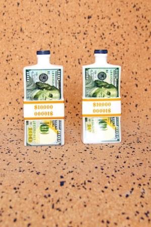 """Ceramic Bottle for Vodka """"Wad of Cash"""" -"""