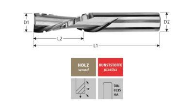 Milling Tools: for wood - sc roughing end mill - downcut spiral, Z=2