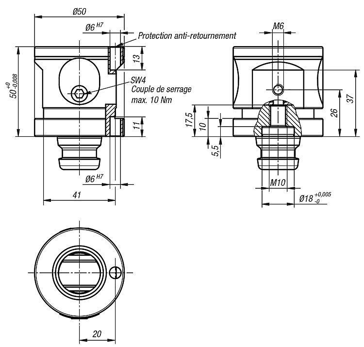 Module entretoise 5 axes UNI lock à pas de 50 mm - UNI lock pas de 50 mm