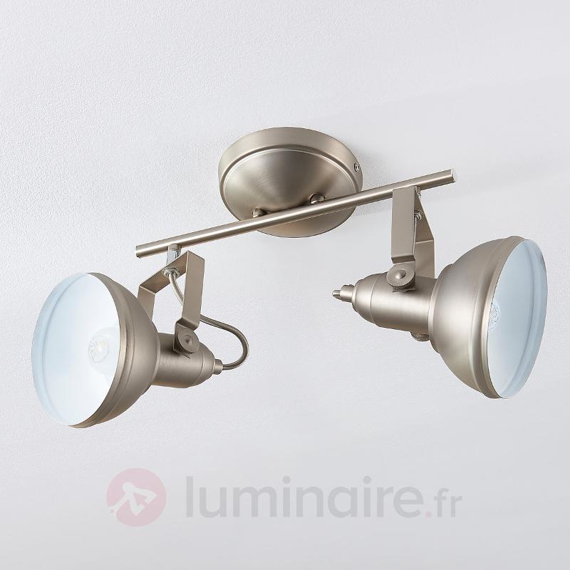 Plafonnier LED Tameo à 2 lampes, nickel mat - Spots et projecteurs LED