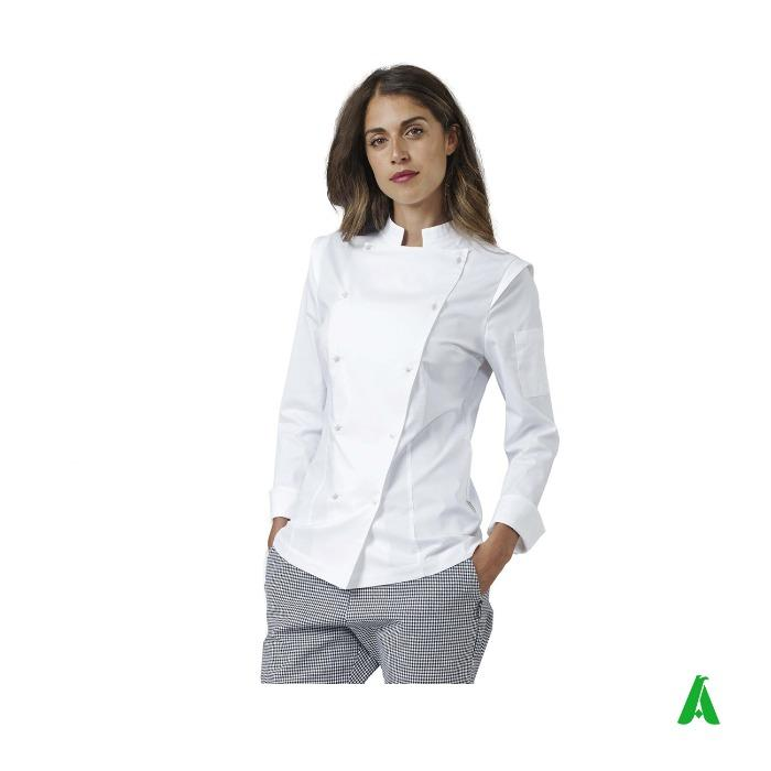 Giacca donna da chef con profili - Giacca donna da cucina con logo