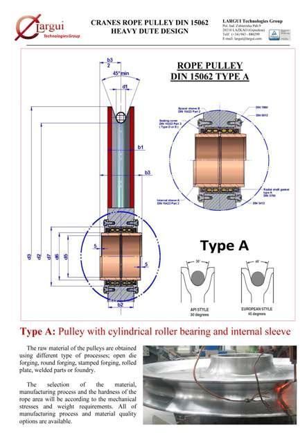 Poleas Cable Grúa / Crane Rope Sheaves - Poleas DIN 15062 Tipo A y otros diseños