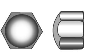 Hexagon cap nuts, low type - Material A2   A4