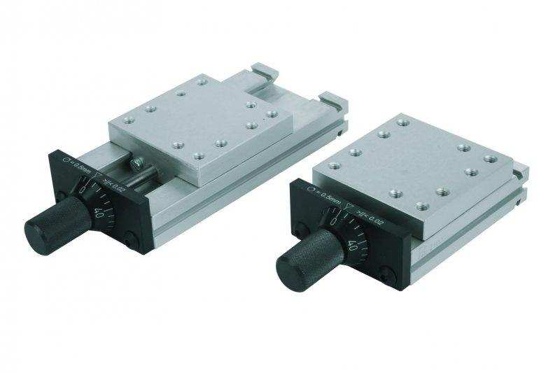 Schwalbenschwanz-Schlittenführungen - Schwalbenschwanz-Schlittenführungen mit Mikrometerspindel. Aluminium EN AW-6063.