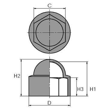 N240 - Cache-écrou hexagonal - Capes de protection ou de finition