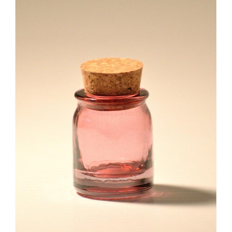 lot de 6 mini bocaux roses ronds 30 ml en verre 100 recycl bocaux en couleur mcm emballages. Black Bedroom Furniture Sets. Home Design Ideas