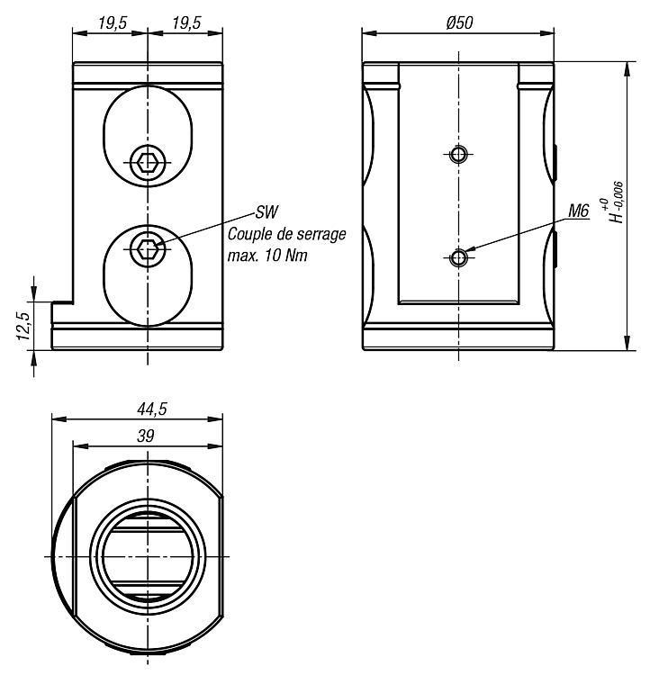 Module de base double 5 axes UNI lock à pas de 50 mm - UNI lock pas de 50 mm
