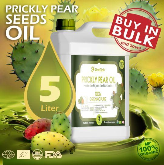 PRICKLY PEAR SEEDS OIL - PURE PRICKLY PEAR OIL JUG 5 LITERS - 100 % NATURAL CERTIFIED ORGANIC