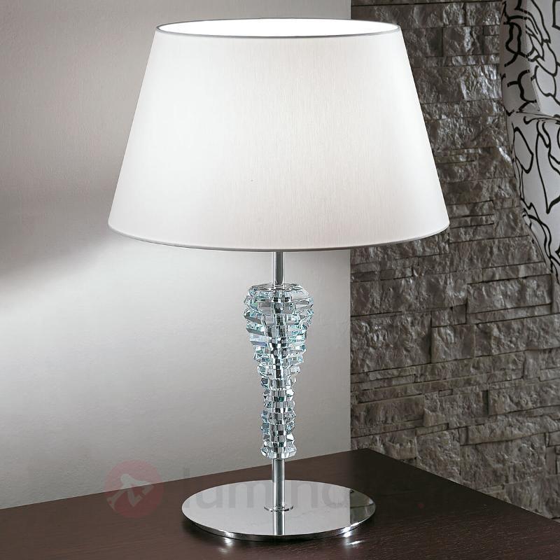Grande lampe à poser textile Crystal blanc - Lampes à poser en tissu