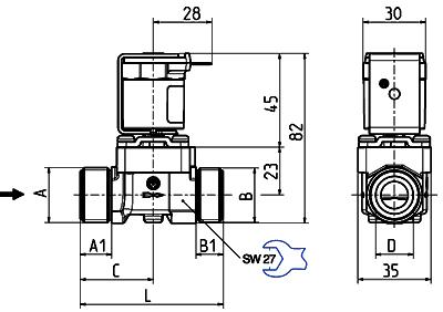 Electrovanne servo-commandée NF, DN 13 - 01.013.523