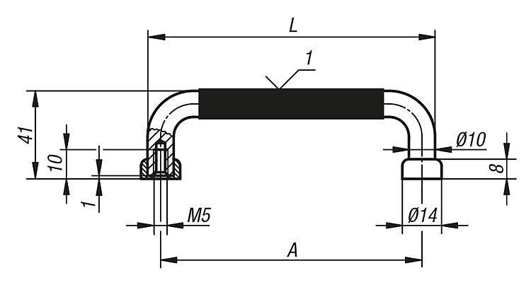 Poignée de manutention cylindrique - Poignées de manutention, poignées tubulaires et poignées alcôve