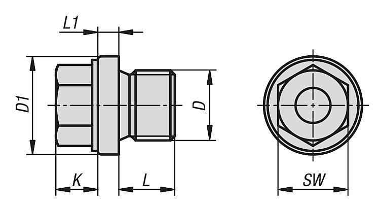 Bouchon fileté avec embase et tête hexagonale DIN 910 - Indicateurs de niveau d'huile Obturateurs Bouchons filetés Bouchons à...