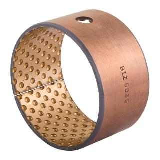 Wrapped composite sliding bearing, steel / bronze - BIV-MET®  - with lubrication pockets
