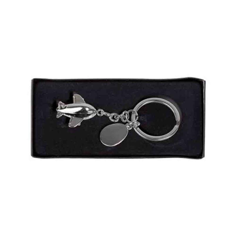 Porte-clef avion métal chrome - Porte-clés métal