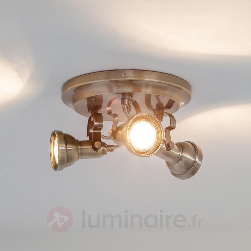 Perseas - Plafonnier rond LED GU10 à 3 lampes - Plafonniers LED