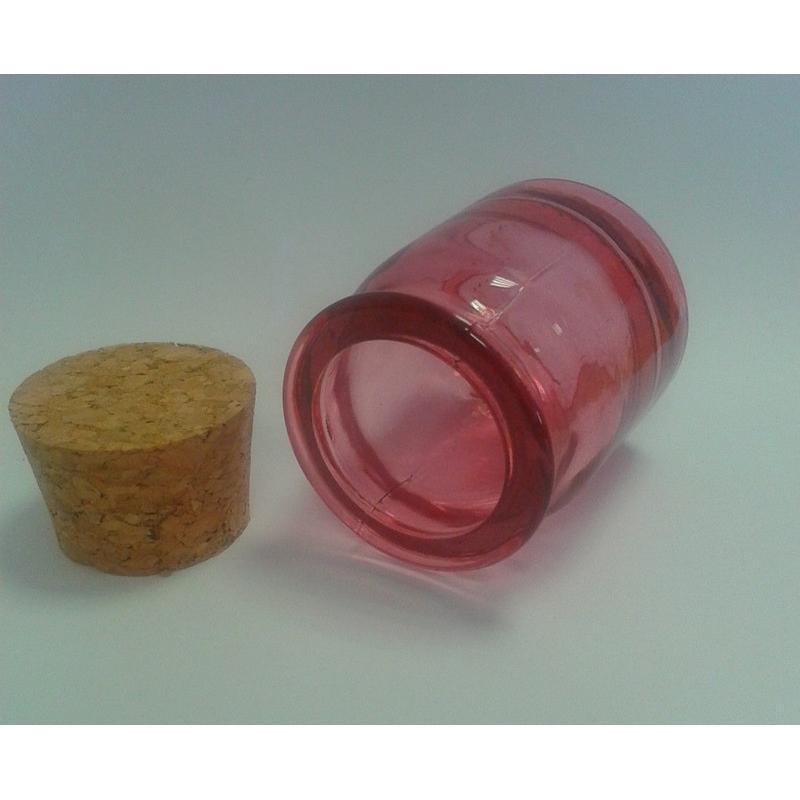 6 mini vasi rosa rotondi 30 ml in vetro 100% riciclato - Vasetti colorati