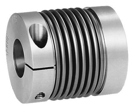 Metal bellows couplings with radial clamping hub