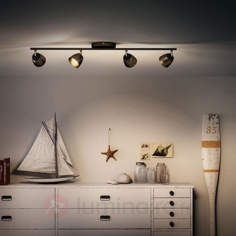 Plafonnier LED County bronze à 4 lampes - Spots et projecteurs LED