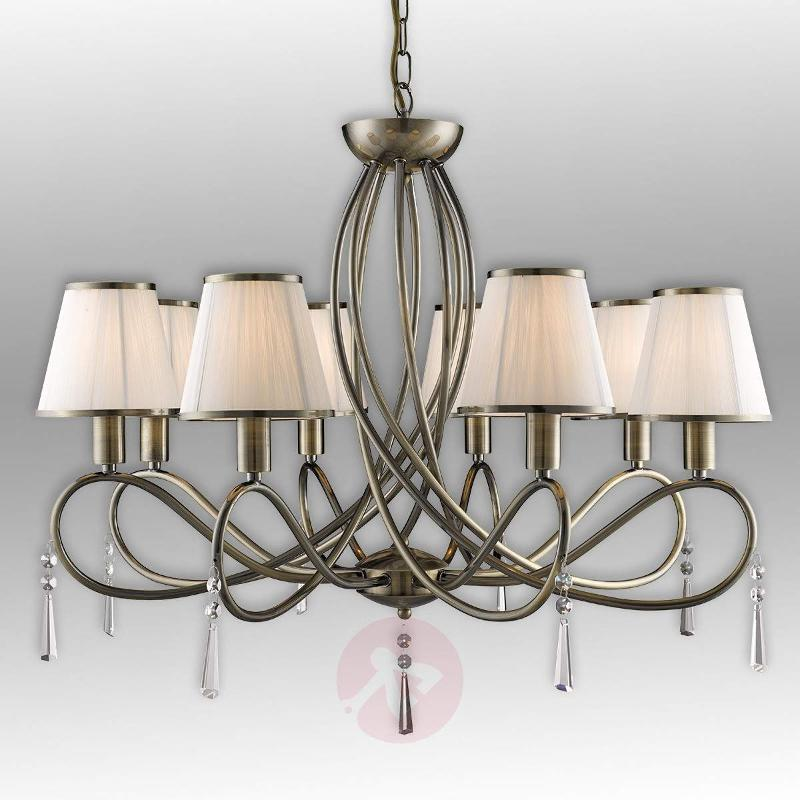 Simplicity chandelier with eight fabric lampshades - Chandeliers