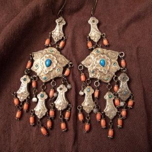 Boucles d'oreilles - Argent, vermeil, corail, turquoises, perles d'eau douce, Asi