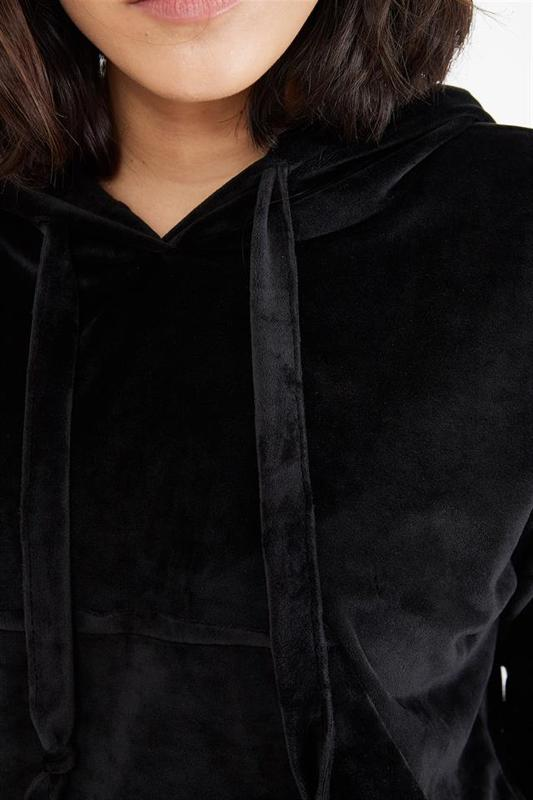 Black Women's Velor Hooded Sweatshirts - Women's Sweatshirts