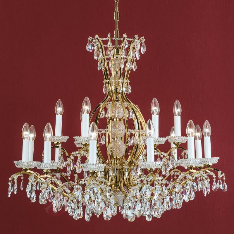 Lustre Hirohito doré à 18 lampes - Lustres en cristal
