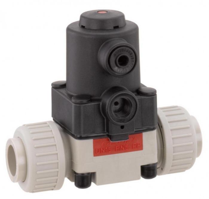 Pneumatically operated diaphragm valve GEMÜ 610 - The GEMÜ 610 2/2-way diaphragm valve is pneumatically operated.