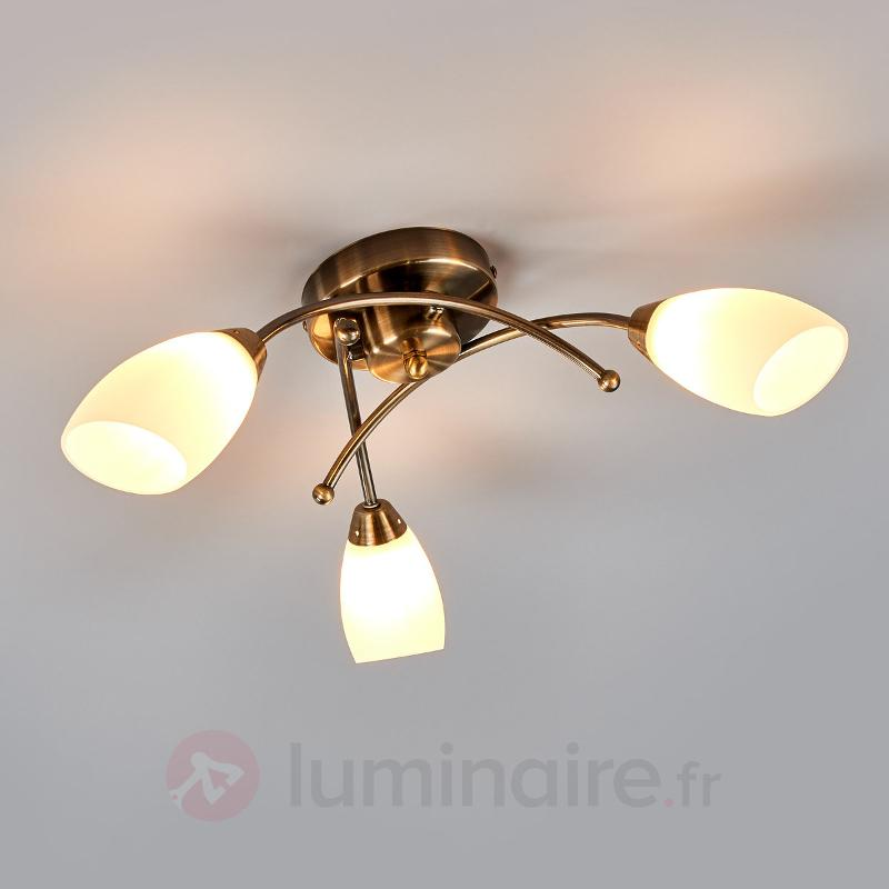 Beau plafonnier OPERA 3 lampes laiton vieilli - Plafonniers laiton/dorés