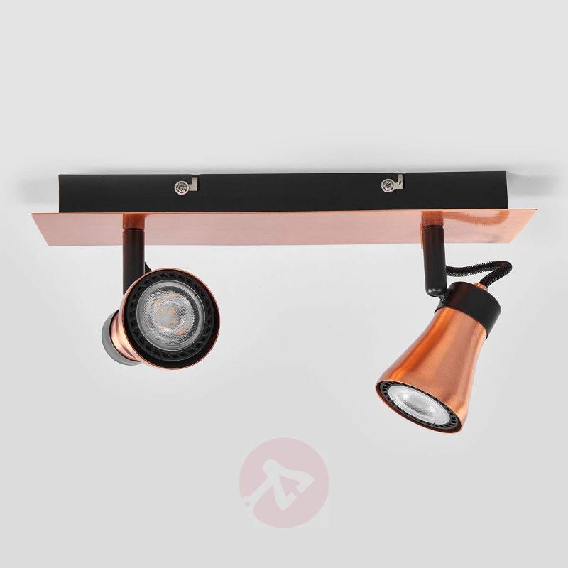 Bolo LED ceiling spotlight in copper look, 2-bulb - Spotlights