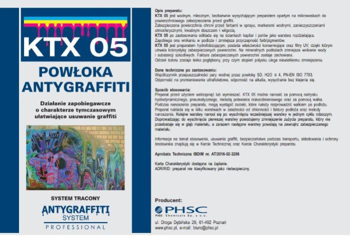KTX 05 Powłoka Antygraffiti - Powłoka służąca do zmywania graffiti