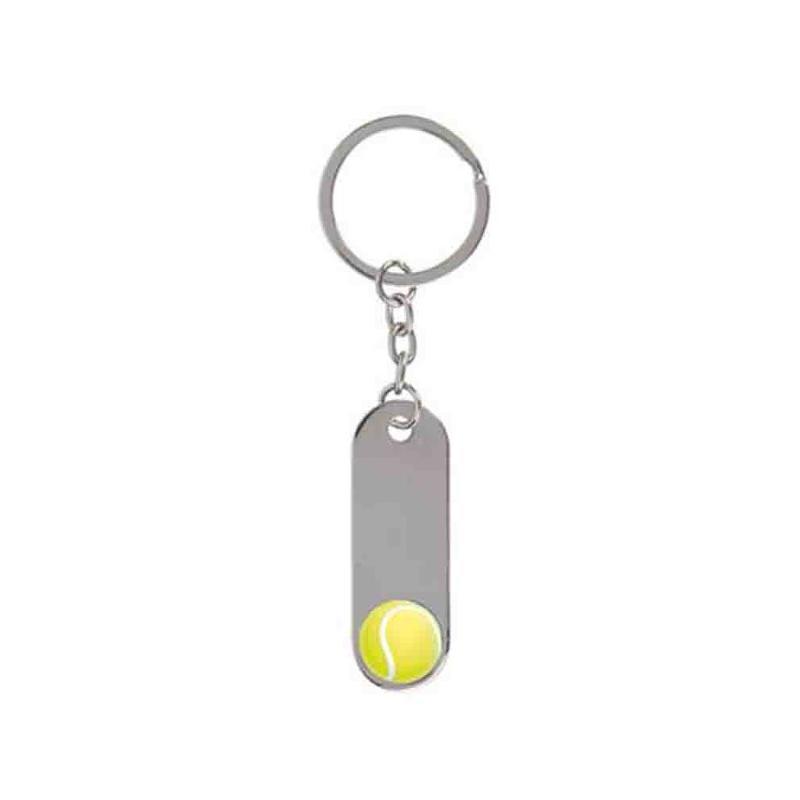 Porte-clés tennis métal brillant - Porte-clés métal