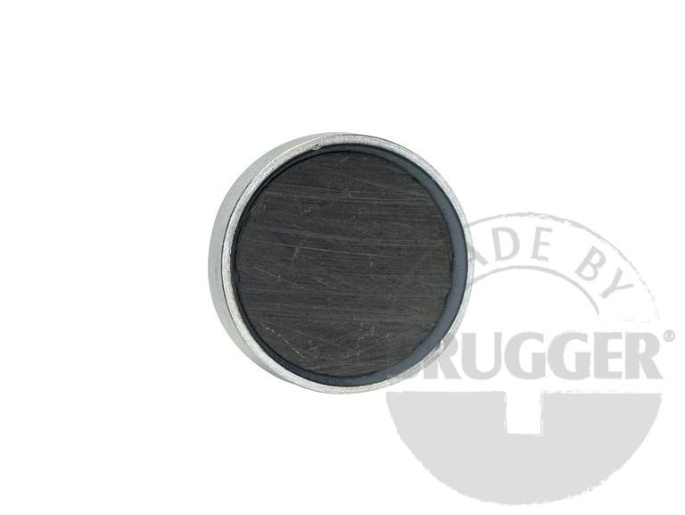 Flat pot magnets hard ferrite, with screwed bush, galvanized - null