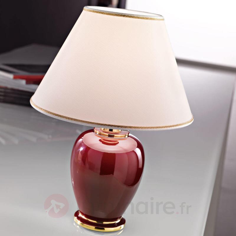 Gracieuse lampe à poser Bordeaux - Lampes à poser en tissu